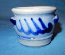 "Cobalt Blue Decorated Mini Stoneware Salt Glaze 1 3/4"" Handled Crock Miniature E"