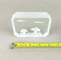 Acrylic Lucite Carved Etching Mushrooms Vintage Field Mouse Art Scene Sculpture