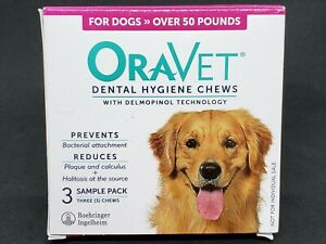 NEW OraVet Dental Hygiene Chews Dogs Over 50 lbs - Qty. 3 Chews