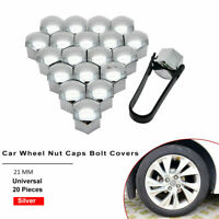 20Pcs 21mm Chrome Silver Alloy Wheel Nut Bolt Covers Caps Universal Set For Car