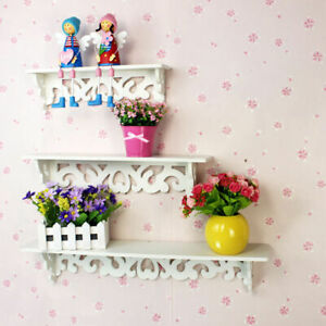 Set of 3 White Wooden Wall Shelves Hanging Shelf Mount for Display and Storage