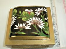 Antique China Brass Cloisonné Domed Humidor Hinged Box Asian Lotus Water Lily