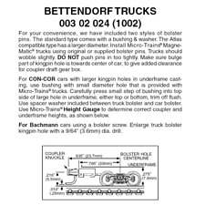 Micro-Trains 00302024 - Bettendorf Trucks With Long Extension Couplers (1002)...