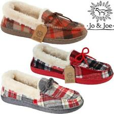 Ladies Tartan Moccasins Laces Womens Winter Faux Fur Collar Slippers Warm Size