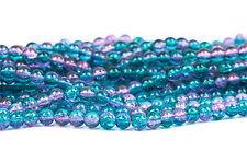6mm Pink turq Teal Blue Crackle Glass Round beads dbl strnd ~140 beads bgl1136