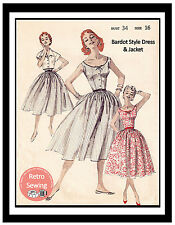 1950s Bardot style Dress and Jacket Sewing Pattern - Reproduction - Rockabilly