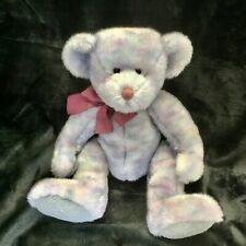 Russ Berrie Plush Teddy Bear Opal Multicolored Lavender Maroon Gray Retired