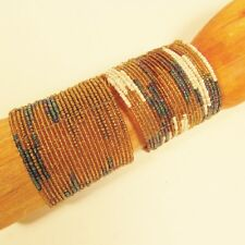 2 Gold Natural Wide Color Block Boho Cuff Handmade Bracelets Bali Seed Bead