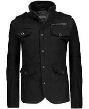 Rogue State Black Jacket Canvas denim Moto Military field Coat Men 2XL XL L