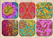 PAISLEY DRINK COASTERS x 6