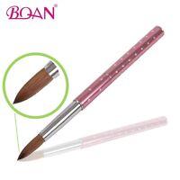 1Pc Tool for Nail Art Acrylic Brush Metal Handle with Diamond Kolinsky Hair 8#