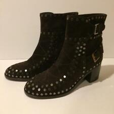 New! Retail $970 Laurence Dacade Studded Brown Suede Ankle Boot (36EU)