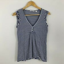 Country Road Womens Top Size XS 6 18 Blue White Stretch Stripe