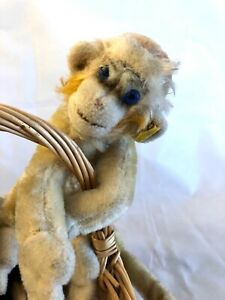 Steiff Vintage Monkey Mohair Plush Button Flag 1960s Blue Glass Eyes