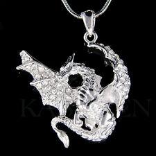 w Swarovski Crystal Big Wing Dragon Amulet Warrior Gothic Charm Necklace Jewelry