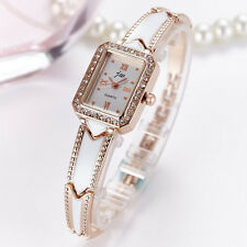 Ladies Fashion Rose Gold Quartz White Dial Rhinestone Bracelet Band Wrist Watch.