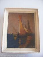 Peinture marine signée huile sur toile