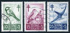 Finland B117-B119,used.Mi 413-415. Birds 1952.Titmouse,Flycatcher,Swift.