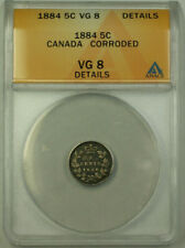 1884 Canada 5 Cents Silver Coin ANACS Good VG-8 Details