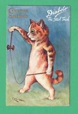 VINTAGE TUCK LOUIS WAIN CHRISTMAS POSTCARD CAT DIABOLO: THE STICK TRICK