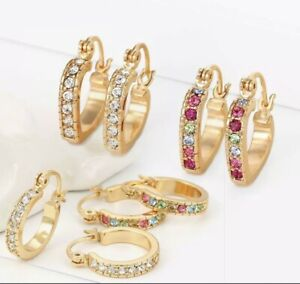 """SALE 9K 9ct""""Gold Filled""""White/multicolor Small Hoop Earrings Birthday Xmas Pouch"""