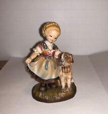 Anri Italy Wood Carving 3 Inch Figure Alpine Friends German Girl St Bernard