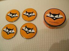 "Wendoverlane Cats Eyes Coaster Set In Box-(4)-Design Green Room-4"" Across"