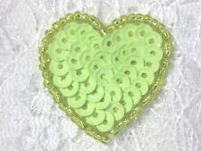 "0362 ~ LIME GREEN  HEART BEADED SEQUIN APPLIQUE 1"" +"