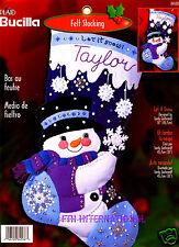 "Bucilla Let It Snow ~ 18"" Felt Christmas Stocking Kit #84588 Frosty Snowman Blue"