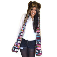 Animal Hoodie Hat Scarf Gloves Peruvian Wolf Faux Fur Polyester With Ears UK