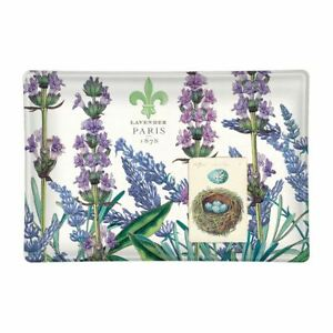 Michel Design Works Glass Trinket / Soap Dish Lavender & Rosemary - NEW