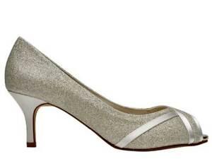 Rainbow Club Margie - Silver Shimmer Ivory Satin Wedding Peep Toe Bridal Shoes