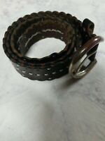 Eddie Bauer Brown Leather Belt White Stitch Rustic Country Home Casual