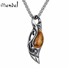 MENDEL Cool Mens Tiger Eye Stone Pendant Necklace Stainless Steel Men Vintage