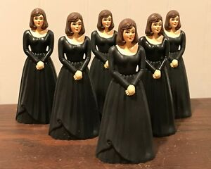 6 Vintage Bridesmaid Black Dress Cake Topper Cake Decoration Lot # 12