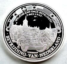 WWII LIBERATION OF THE NETHERLANDS BU Proof Medal 40mm 20g Silver Plated B9
