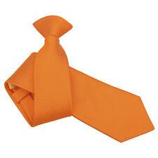 DQT Woven Plain Solid Check Celosia Orange Formal Work Slim Clip On Tie