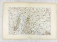 1881 Antique Military Map of South West Germany Baden Wurttemberg Swabia