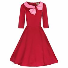 New Lindy Bop Vintage Inspired 1950's Bow Collared Swing/Jive Dress Pink UK10