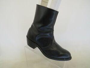 Black Leather Zip Ankle Western Cowboy Boots Mens Size 7.5 D