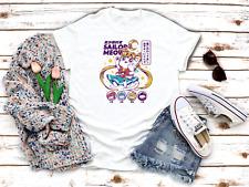 Sailor Moon Meow Cat White Women's 3/4 Short Sleeve T-Shirt A143