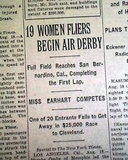 "1st WOMEN'S AIR DERBY ""Powder Puff"" Airplane Race AMELIA EARHART 1929 Newspaper"