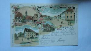 Gruss aus Zunsweier, alte 4-Bild-Litho-Ak, zur Linde, Schule, Fabrik, gel.1903