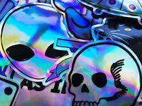 20 Metallic Shine Reflective Foil Stickers Skull Alien Phone Decals #CT2