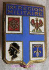 IN12083 - INSIGNE IX° Région Militaire, émail, boléro gravé DRAGO PARIS