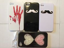 LOT OF 4! Hard Plastic Back Skin Cover Cases For IPHONE 4/4S. Mustache. Bling ❤️