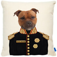 More details for personalised staffy cushion cover dog portrait uniform military cute gift fdc24