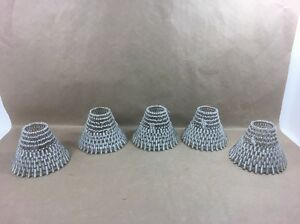 "Lot of 5 - Pottery Barn Beaded Glass Shades - 4"" H x 6"" W"