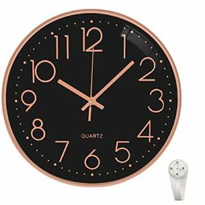 """Black Rose Gold Non Ticking Wall Clock 12"""" For Kitchen, Room Decor Round Modern"""