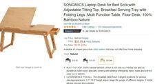 Songmics Laptop Desk for Bed Sofa with Adjustable Tilting Top, Breakfast Serving